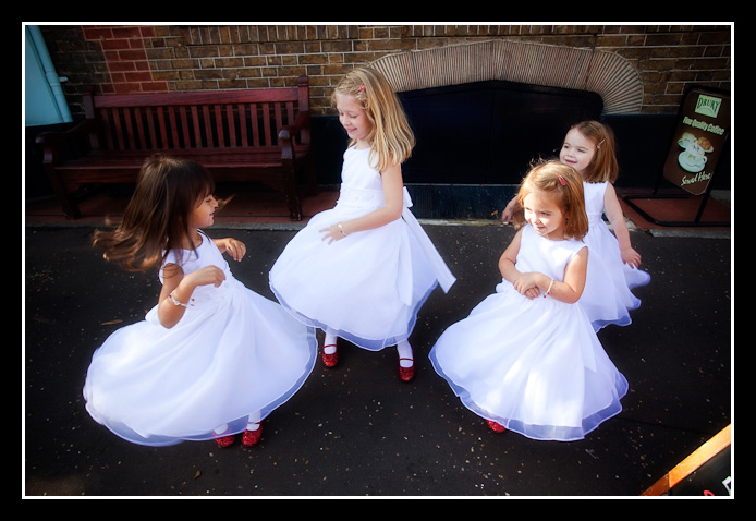 Bridesmaids do the twirl