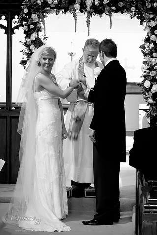 Bride looks quizzical during ceremony