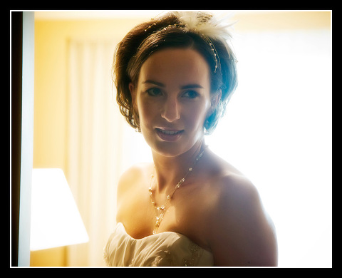 high key backlit photo of bride