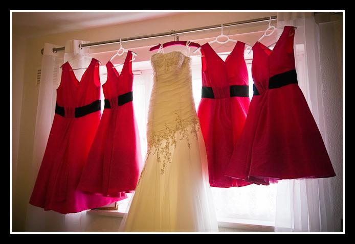 bridesmaids dresses and wedding dress