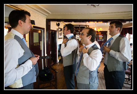 groom and ushers at London Apprentice pub