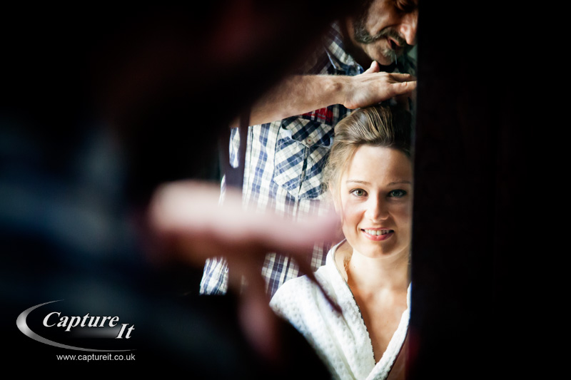 bride has her hair done