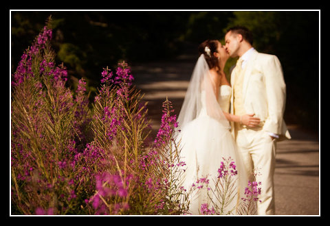 bride and groom with mountain flora