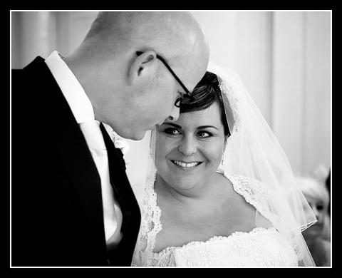 Deborah and Paul during wedding ceremony at Warren House