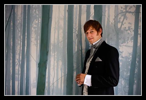 Groom in Victorian suit