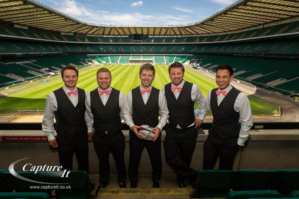 groom, best man and ushers at RFU stadium Twickenham