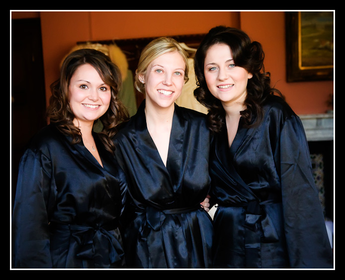 the girls in their gowns before the wedding