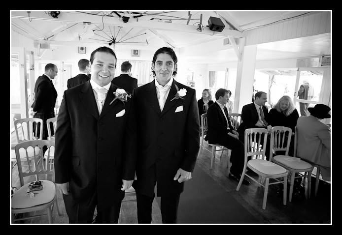 groom and best man wait for bride