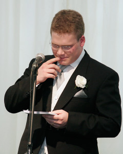 Best man thinks carefully about what to say in his speech