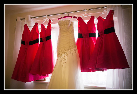 bridesmaids dresses and wedding dress