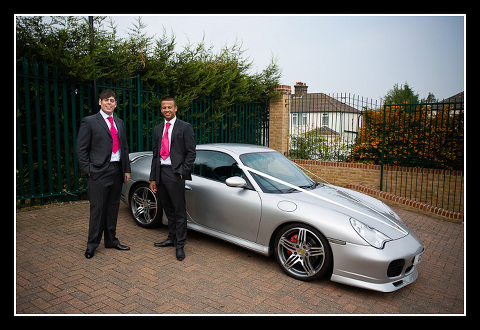 groom, best man and Porsche
