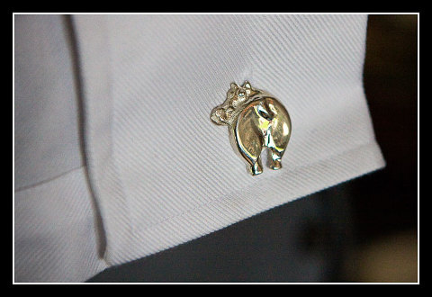 photo of hippo's bottom cufflinks