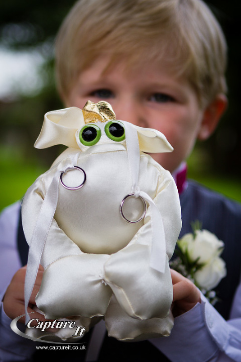 pageboy with frog ring cushion
