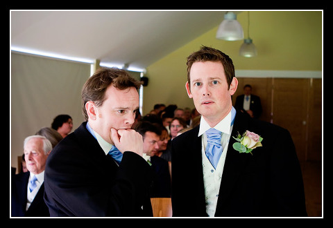very nervous groom and best man