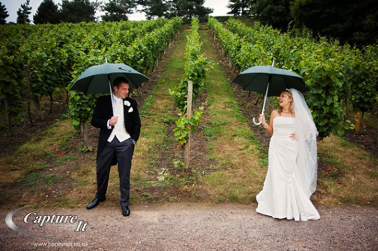 Bride and groom with umbrellas in a vineyard